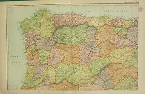 1912 LARGE ANTIQUE MAP ~ SPAIN & PORTUGAL NORTH WEST