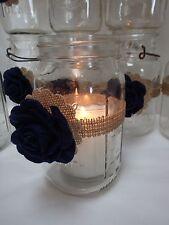 10 Burlap Mason Jar Blue Flowers Country Wedding Party Decorations F9
