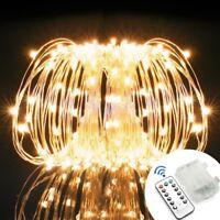 100 LED Draht Lichterkette Batterie Weihnachten Mit Fernbedingung Warmweiß 10M