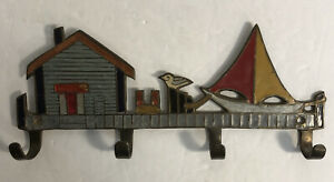Brass Enameled PENCO Key/Coat Wall Mount 4 Hook-Nautical Wharf Seagull Sailboat