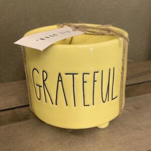 "Rae Dunn - GRATEFUL LL - Yellow with Feet Ceramic Planter - 4""D 3"" H"
