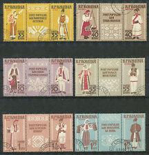 Roemenië 1738 - 1749 A gestempelde stroken van drie  motief Klederdrachten