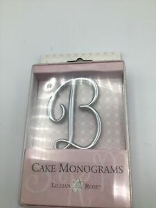 """Lillian And Rose Wedding Cake Monogram Cake Topper 2.5"""" Choice of Letters silver"""