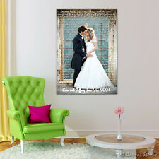 Wedding photo print to canvas. Your photo customized with vows, lyrics.