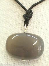 Ciondolo in ARGENTO 925 con AGATA GRIGIA naturale e girocollo - pietra dura -