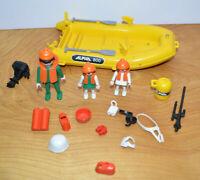 Vintage PLAYMOBIL ALPHA 800 Raft Boat Playset Parts Lot Figures Accessories 1984