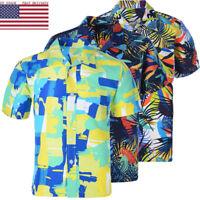 Summer Casual Men's Short Sleeve Shirt Hawaiian Beach Summer Tops Floral US 50