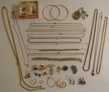 Lot VINTAGE Estate Jewelry Gold Tone Plated Chain Necklace Bracelet Earrings Pin