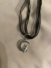 Crescent Moon Cat Organza Chain Cat On A Moon Pendant Necklace