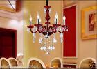 Modern Style 6 Lights E14 Red K9 Crystal Bedroom Candle Lamp Chandelier Light