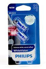 Philips W5W Blanco Visión whitevision 4300 K Xenon Efecto +60% 2 Piezas 12961NBV