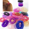50x Stretchy Spiral Plastic Hair Bands Clear Girls Ponytail Elastic Bobbles Band