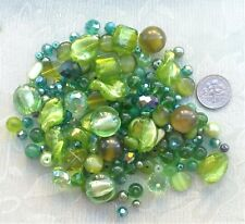 80g Lot Green Mixed Beads 4-14mm Crystals Silver Foil Glass Pearls