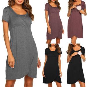 Pregnant Women Maternity Pajamas Dress Casual Nursing Breastfeeding Nightdress