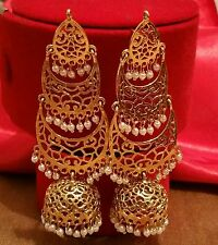 Latest designer indian jewellery big gold pearl jumka earring bridal party wear