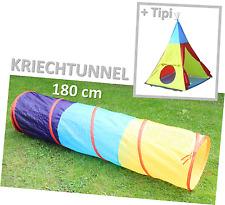 180 cm KRIECHTUNNEL PopUp Spieltunnel + Tipi Zelt Kinder 18 Monate Tunnel yx D2
