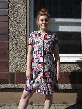 Kleid Damenkleid Gr.44 blau rot beige 60er True VINTAGE 60s summer dress size 44