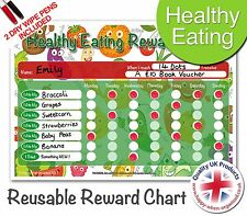 Easy & Reusable Fun Healthy Eating Kids Childrens Reward Chart - Helps 5 a Day