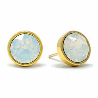 Stud Earrings with Ivory White Round Opals from Swarovski Gold Plated