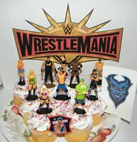 WWE Wrestling Cake Toppers Set of 12 with 10 Figures, WWE Tattoo and Finger Ring