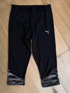 PUMA Black Cropped Capri Sports Leggings 10 S Reflective ~ Pocket Running Yoga 8