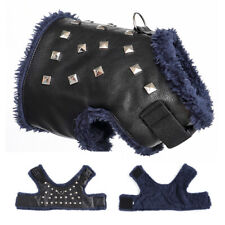Soft Fleece Dog Harness Winter Cat Dog Leather Jacket Clothes Chihuahua Yorkie