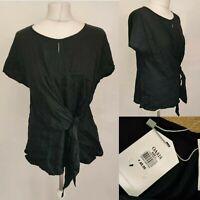 OASIS Women's Top Blouse Size L UK 14 Black Tie Front Print Viscose Formal NEW