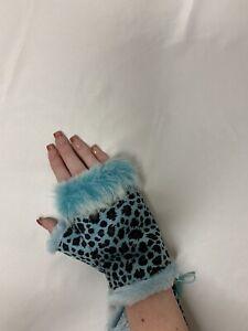 Fingerless Gloves Adjustable Blue