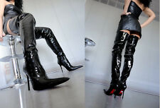 CQ COUTURE CUSTOM OVERKNEE BOOTS STIEFEL STIVALI PATENT LEATHER BLACK NERO 45