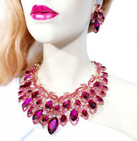 Choker Bib Necklace Earring Set Rhinestone Crystal Hot Pink
