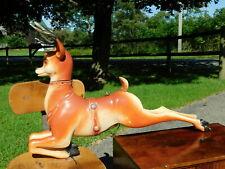 """Last One! 38.5"""" Vintage Large #3 Reindeer Antlers Blow Mold-Craft Santa Sleigh"""