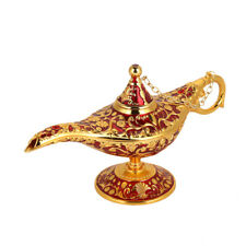 1x Vintage Collectable Aladdin Magic Genie Lamp Teapot Oil Lamp Golden Red