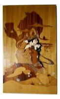 Vintage Asian Signed Wood Block Art