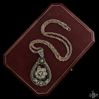 Antique Vintage Deco Sterling Silver Chinese Flower Two Dragon Pendant Necklace