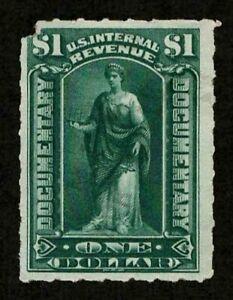 US Revenue 1898 R173 Documentary $1 Green Commerce Corner Fault Mint NG VF-XF