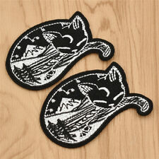 2Pcs Cute Forest Sleeping Cat Embroidery Patches for Clothes Bags Applique Craft