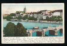 Switzerland  Gruss aus BASEL Basle Bridge Church used 1900 u/b PPC