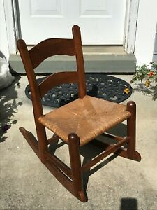 VINTAGE EA CLORE SONS Childs Rocker in Solid Cherry