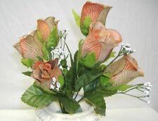 84 Tan Brown Roses Bud Wedding Bouquet Silk Flowers