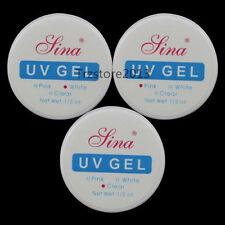 Unbranded 3 *Nail Art UV Gel Builder Tips Glue Clear Pink Extension Manicure Kit