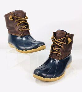 Sperry Saltwater Waterproof Duck Boots Womens Sz 7.5 Navy/Brown Leather/Rubber