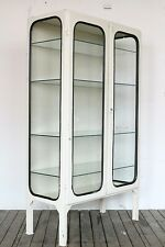 Vintage industrial metal glass medical medicine display cabinet from the 1960s