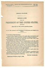 President Grover Cleveland Message Re: Thomas Shannon Disability Pension Request