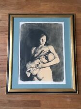 Vintage Mother & Child Print Black and White Drawing Art Limited Edition Signed