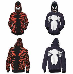 Venom 2 Carnage 3D Hoodie Superhero Spiderman Sweatshirts Jacket Coat Costumes