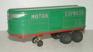 "Vintage Hubley USA MOTOR EXPRESS 8.5"" Long Plastic Truck Trailer No. 352"