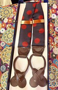 Vintage Perry Ellis Portfolio Men's Silk Braces  Blue Red Polka Dots Button Tabs