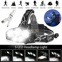 80000LM T6 LED Headlamp USB Rechargeable Head Torch Light Flashlight Waterproof