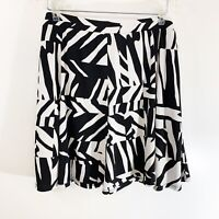 Susan Graver Black White Geometric Stretch Pull On Skirt Skort Women's Plus 1X