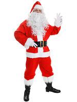 Santa Claus Costume 10 Piece Mens Father Christmas Adult Fancy Dress Xmas Suit